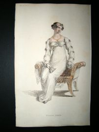 Ackermann 1812 Hand Col Regency Fashion Print. Evening Dress 8-18